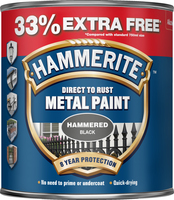 Hammerite Direct To Rust Metal Paint Hammered Finish Nero 1L
