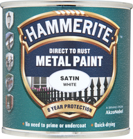 Hammerite Direct To Rust Metal Paint Satin Finish Bianco 0.25L