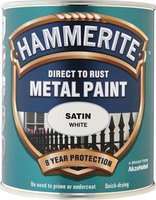 Hammerite Direct To Rust Metal Paint Satin Finish Bianco 0.75L