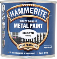 Hammerite Direct To Rust Metal Paint Smooth Finish Bianco 0.25L