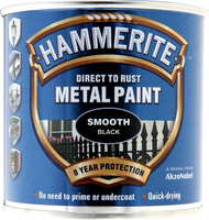 Hammerite Direct To Rust Metal Paint Smooth Finish Nero 0.25L