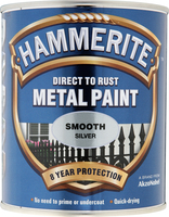 Hammerite Direct To Rust Metal Paint Smooth Finish Argento 0.75L