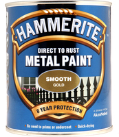 Hammerite Direct To Rust Metal Paint Smooth Finish Oro 0.75L