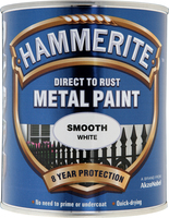 Hammerite Direct To Rust Metal Paint Smooth Finish Bianco 0.75L