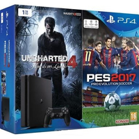 Sony PlayStation 4 Slim 1TB + Uncharted 4 + PES 2017 1000GB Wi-Fi Nero