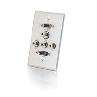 C2G Decorative HDMI, HD15 VGA, RCA Audio/Video, and 3.5mm Wall Plate Alluminio