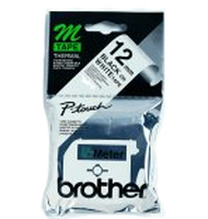 Brother Labelling Tape - 12mm, Black/White, Blister M nastro per etichettatrice