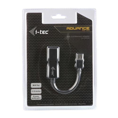 i-tec Advance USB 2.0 Fast Ethernet Adapter. Übertragungstechnik: Verkabelt, Hostschnittstelle: USB, Schnittstelle: Ethern