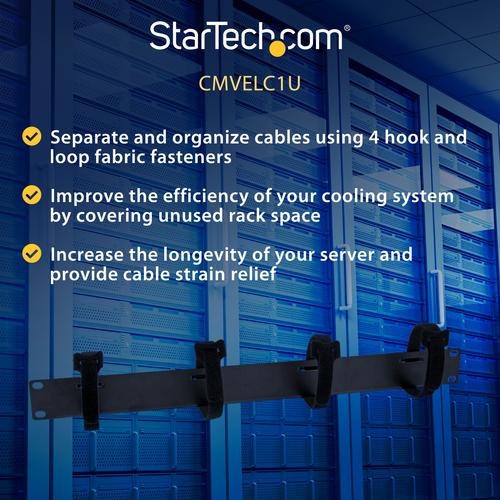 StarTech.com 1 HE Rack Kabelführung/ Kabelmanagement mit 4 Klett-Kabelbindern - 1U Höhe - Stahl
