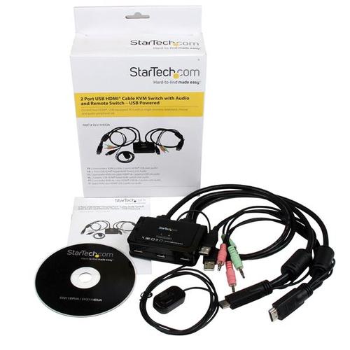 StarTech.com 2 Port USB HDMI KVM Switch mit Audio - Desktop Umschalter USB Powered - 1920x1200 - 2 Computer - 1 Lokaler Be