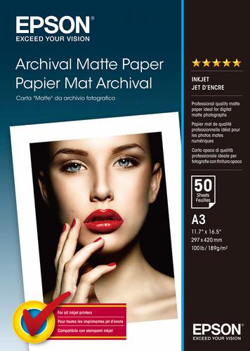 Epson Archival Matte Paper, DIN A3, 192g/m², 50 Sheets
