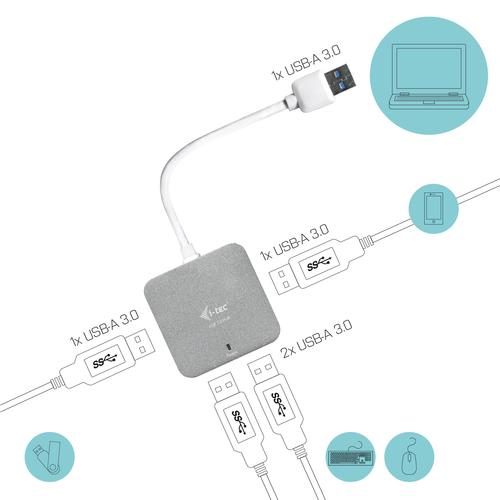 i-tec Metal USB 3.0 Passive HUB 4 Port. Hub-Schnittstellen: USB 3.2 Gen 1 (3.1 Gen 1) Type-A. Datenübertragungsrate: 5000