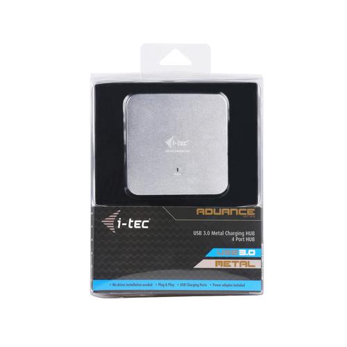 i-tec Metal Superspeed USB 3.0 4-Port Hub. Hostschnittstelle: USB 3.2 Gen 1 (3.1 Gen 1) Type-A, Hub-Schnittstellen: USB 3.