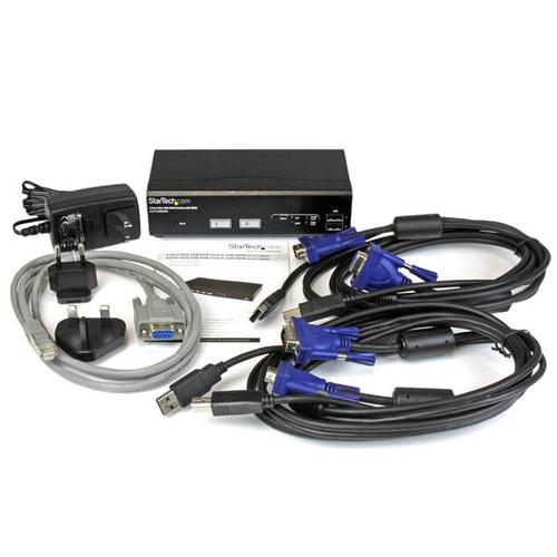 StarTech.com 2 Port USB VGA KVM Switch mit DDM Fast Switching und Kabeln - 2 Computer - 1 Lokaler Benutzer(n) - 1920 x 144