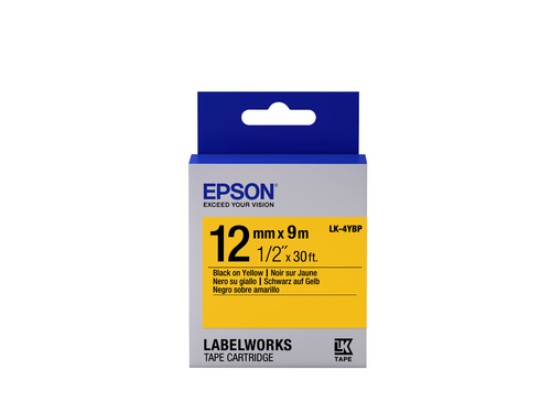 Epson C53S654008 Black on yellow label-making tape