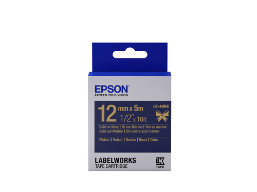 Epson LK-4HKK Gold on navy label-making tape