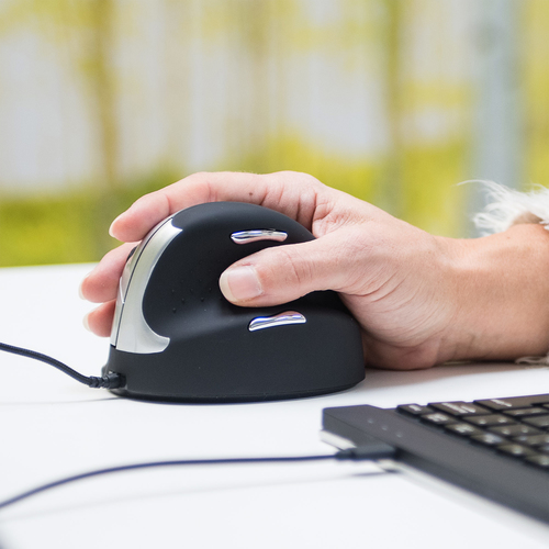 R-Go Tools R-Go HE Mouse, Ergonomic mouse, Medium (Hand Size 165-185mm), Right Handed, wired. Form factor: Right-hand. Dev