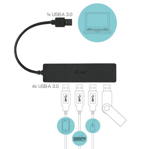 i-tec Advance USB 3.0 Slim Passive HUB 4 Port. Hostschnittstelle: USB 3.2 Gen 1 (3.1 Gen 1) Type-A, Hub-Schnittstellen: US
