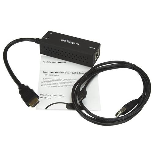StarTech.com Kompakter HDBaseT Transmitter - HDMI über Cat5 - USB Powered - bis zu 4K - 1 Eingabegerät - 70 m Reichweite -