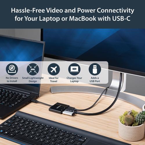 StarTech.com USB-C auf 4K HDMI Multiport Adapter mit Power Delivery und USB-A Anschluss - USB C Laptop Reiseadapter - Schw