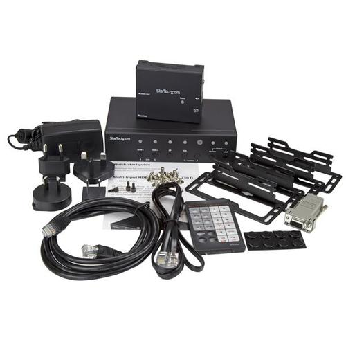 StarTech.com Multi-Input HDBaseT Extender mit eingebautem Switch - DisplayPort, VGA und HDMI over CAT5 oder CAT6 - bis zu