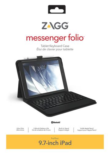ZAGG ID8BSF-BBW. Keyboard language: Swiss. Brand compatibility: Apple, Compatibility: iPad (5th & 6th Gen.), Air, Air 2, i