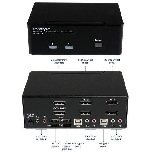 StarTech.com 2 Port DisplayPort Dual Monitor KVM Switch - DisplayPort KVM - 4K 60 Hz - 2 Computer - 1 Lokaler Benutzer(n)