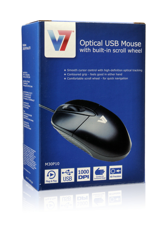 Souris Optique V7 M30P10-7E - USB - 3 Bouton(s) - Argenté, Noir - Câble - 1000 dpi - Roulettes avec frein