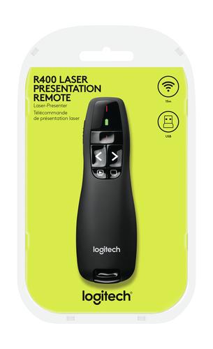 Logitech R400 Pointer - Funkfrequenz - USB - Laser - Schwarz - Kabellos