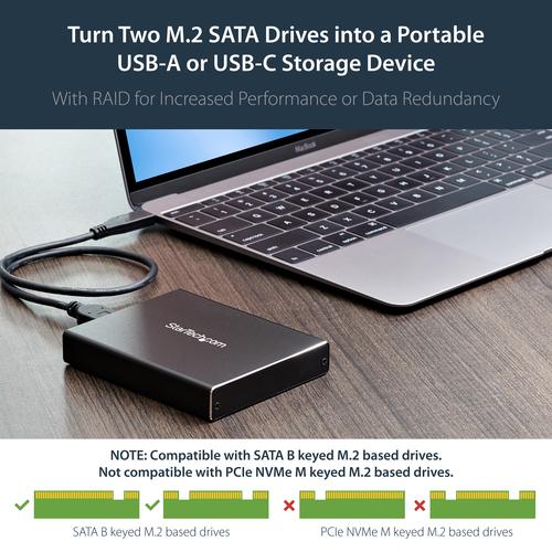 StarTech.com Dual M.2 Festplattengehäuse - RAID - M.2 NGFF SATA SSD Gehäuse - USB 3.1 (10Gbit/s) - USB C / USB A Festplatt