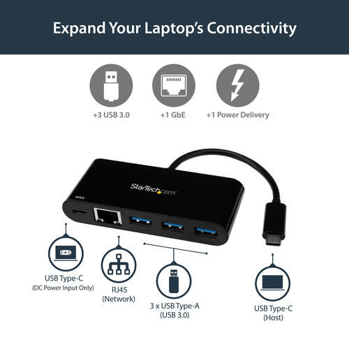 StarTech.com USB-C auf Ethernet Adapter mit 3 Port USB 3.0 Hub und Stromversorgung - USB-C GbE Adapter mit USB Hub und 3 U