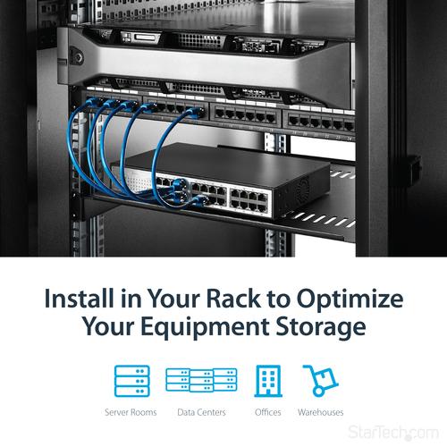 StarTech.com Belüfteter Server Rack Fachboden 1 HE - 40,6 cm Tief - 20,05 kg Maximale Gewichtskapazität