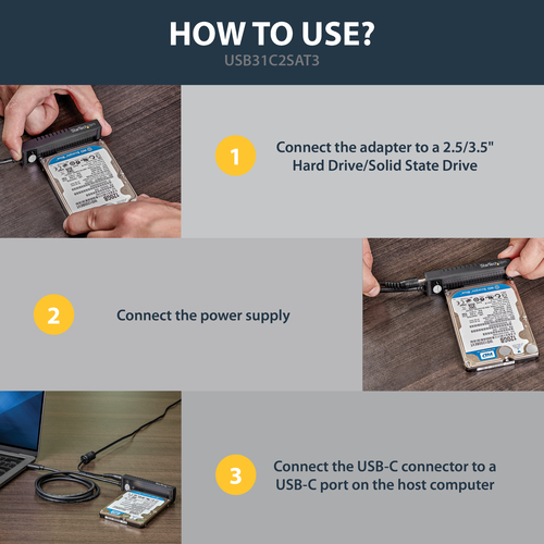 """StarTech.com USB 3.1 (10 Gbit/s) Adapterkabel für 2,5"""" / 3,5"""" SATA Laufwerk - USB-C - Erster Anschluss: 1 x SATA/Power - Z"""