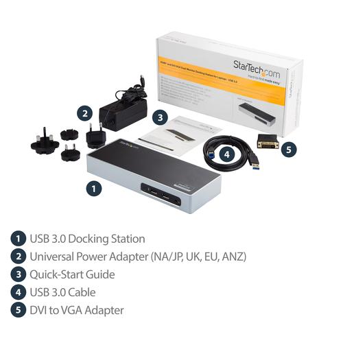 StarTech.com Dual Monitor USB 3.0 Dockingstation - Windows - HDMI & DVI + DVI auf VGA Adapter - Port Replikator mit 6x USB