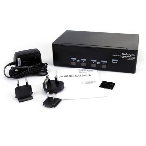 StarTech.com 4 Port DVI KVM USB Switch - 4-fach DVI Umschalter mit USB Hub - 4 Computer - 1 Lokaler Benutzer(n) - SVGA, WU