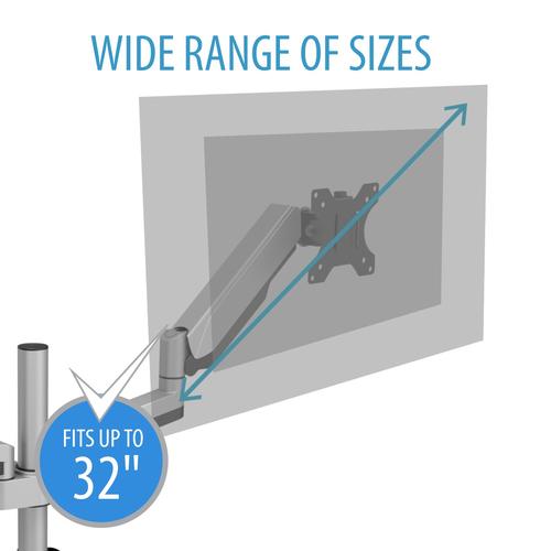 V7 DM1DTA-1E Tischhalterung für Monitor - Silber - 2 Unterstützte(r) Display(s)Bildschirmgröße: 81,3 cm (32 Zoll) - max. 1