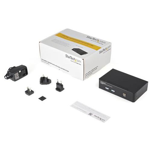 StarTech.com 2 Port USB HDMI KVM Switch mit Audio und USB 2.0 Hub - 2 Computer - 1 Lokaler Benutzer(n) - WUXGA - 1920 x 12