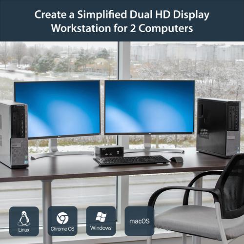 StarTech.com 2 Port Dual DisplayPort USB KVM Switch mit Audio - DisplayPort Desktop KVM Umschalter - 2 Computer - 1 Lokale