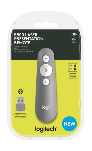Logitech R500 Pointer - Bluetooth/Radio-Frequenz - USB - Laser - 3 Taste(n) - Grau - Kabellos - Symmetrisch