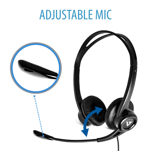 V7 Essentials USB Stereo-Headset mit Mikrofon. Produkttyp: Kopfhörer, Tragestil: Kopfband, Empfohlene Nutzung: Büro/Callce