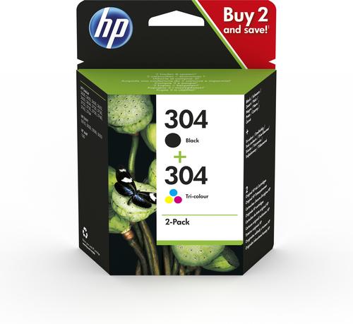 HP 304 Tintenpatrone - Schwarz, Dreifarbig Original - Kombipack - Tintenstrahl - 2er Pack