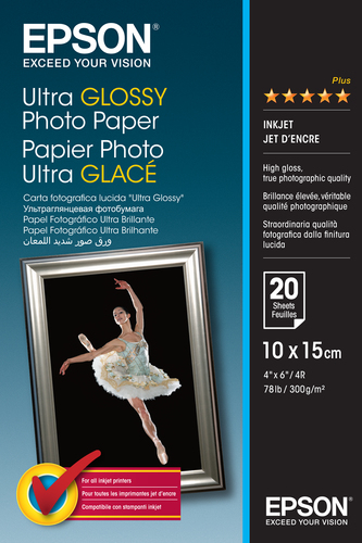Epson Ultra Glossy Photo Paper, 100 x 150 mm, 300g/m², 20 Sheets