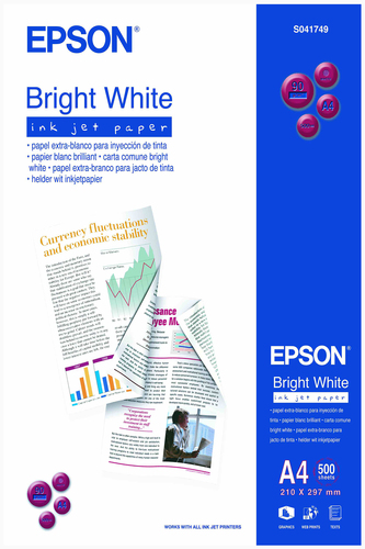 Epson Bright White Ink Jet Paper, DIN A4, 90g/m², 500 Sheets
