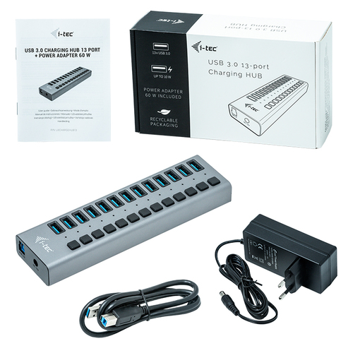 i-tec USB 3.0 Charging HUB 13port + Power Adapter 60 W. Charger type: Indoor, Power source type: AC, Charger compatibility