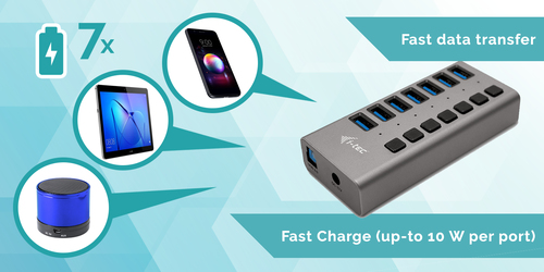 i-tec USB 3.0 Charging HUB 7port + Power Adapter 36 W. Charger type: Indoor, Power source type: AC, Charger compatibility: