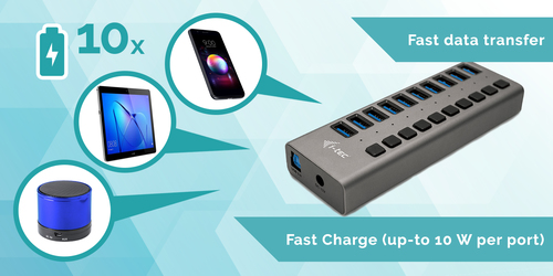 i-tec USB 3.0 Charging HUB 10 port + Power Adapter 48 W. Charger type: Indoor, Power source type: AC, Charger compatibilit