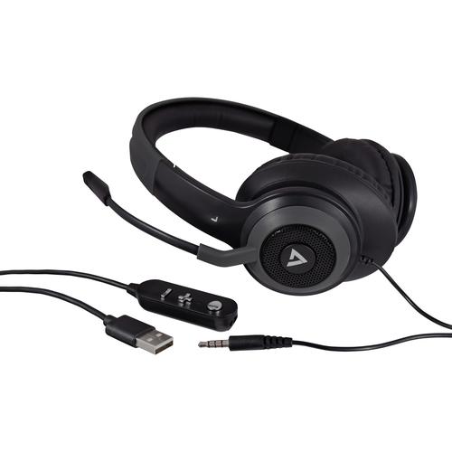 V7 Kabel Kopfbügel Headset - Schwarz - Binaural - 20 Hz bis 20 kHz Frequenzgang - 150 cm Kabel - Omnidirektional Mikrophon