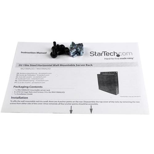 StarTech.com 2 HE 19 Zoll Stahl Server Rack zur horizontalen Wandmontage - 27,76 kg Maximale Gewichtskapazität