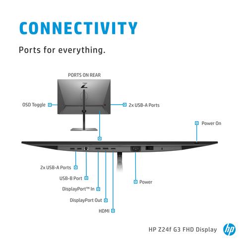 """Specs HP Z24f G3 60,5 cm (23.8"""") 1920 x 1080 pixels Full HD Silver Computer  Monitors (3G828AA)"""