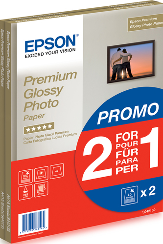 Epson Premium Glossy Photo Paper - 2 for 1), DIN A4, 255g/m², 30 Sheets